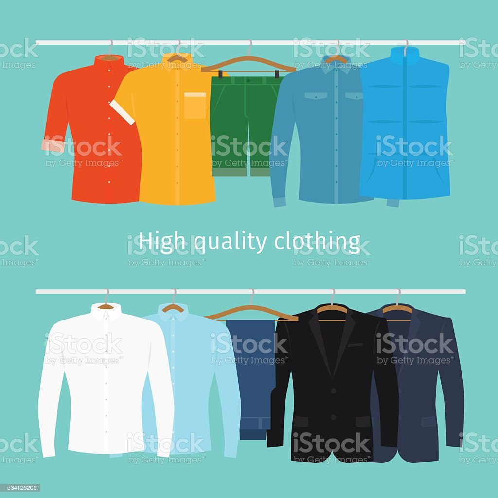 Mens clothes on hangers vector art illustration