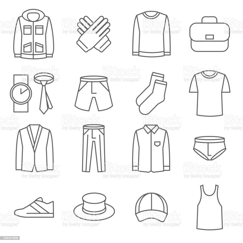 Mens clothes vector line icons set vector art illustration