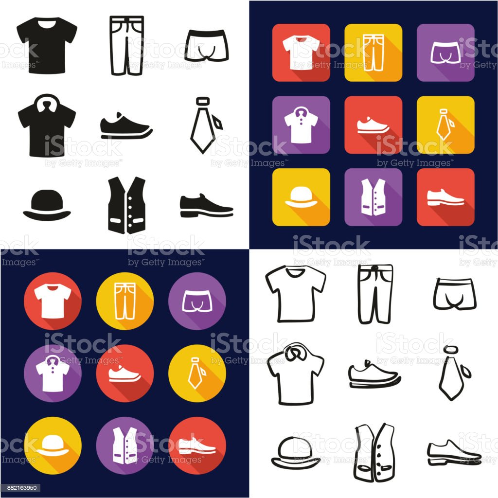 Mens Clothing All in One Icons Black & White Color Flat Design Freehand Set vector art illustration