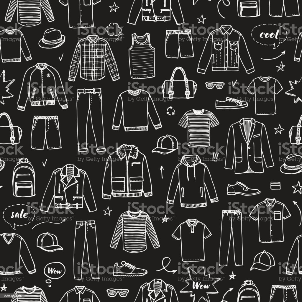 Men's Clothing and accessories. Chalk drawing style. Hand drawn seamless pattern vector art illustration