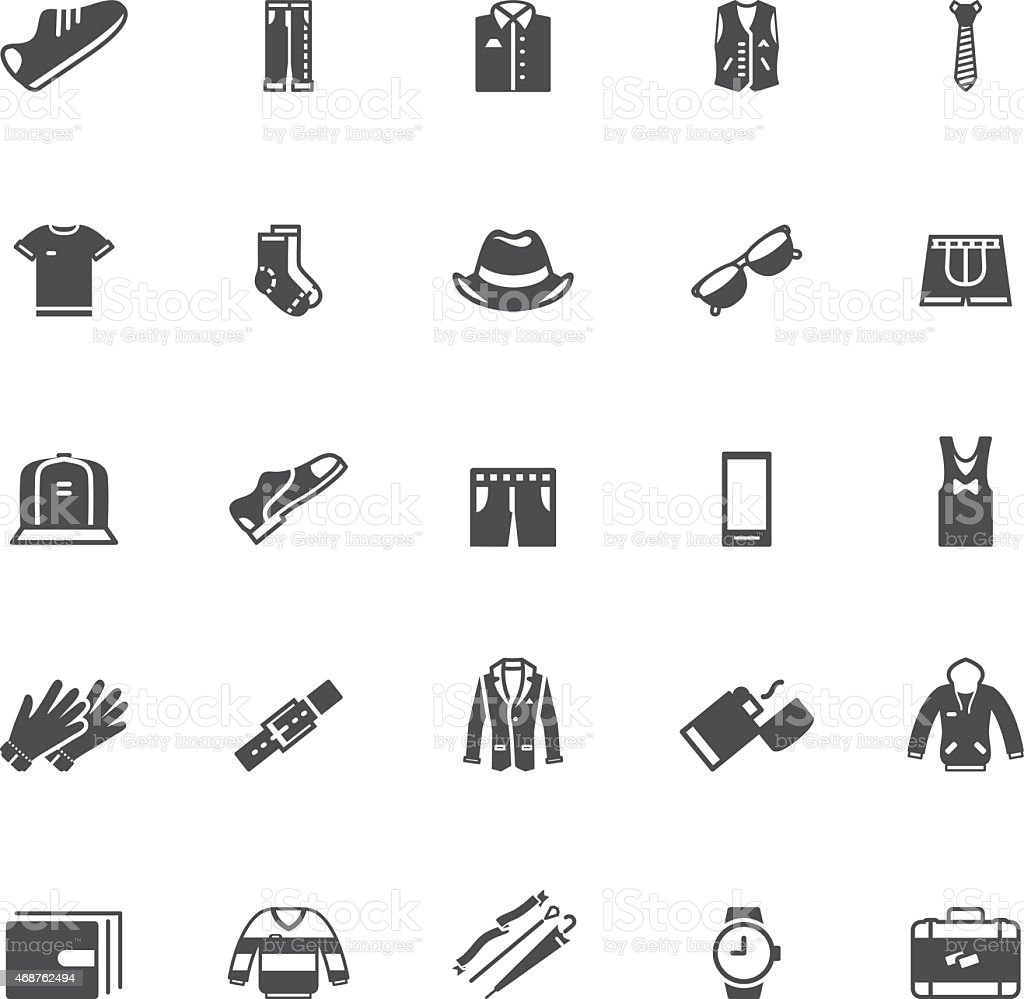 Men's clothing and , icons vector art illustration