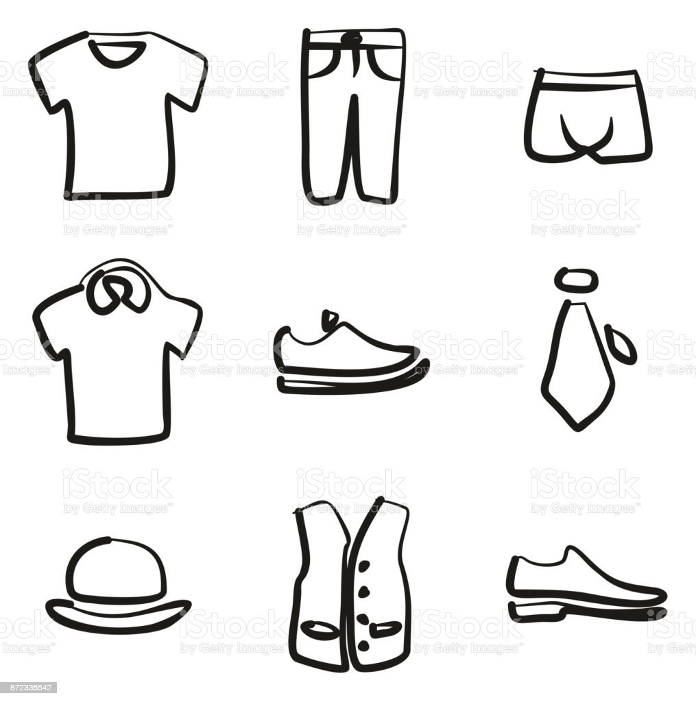 Mens Clothing Icons Freehand vector art illustration