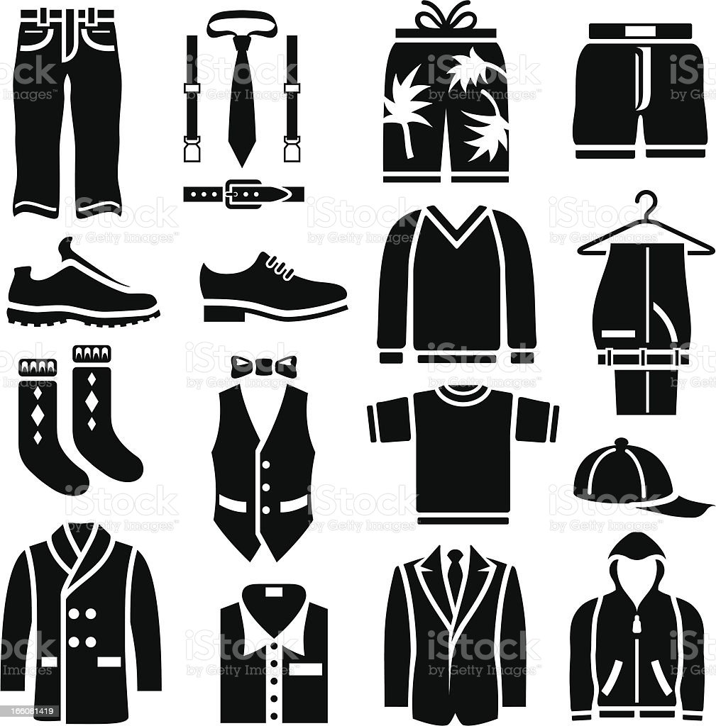Men's Clothing Icons vector art illustration