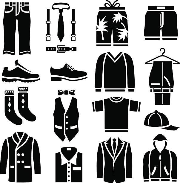 stockillustraties, clipart, cartoons en iconen met men's clothing icons - men blazer