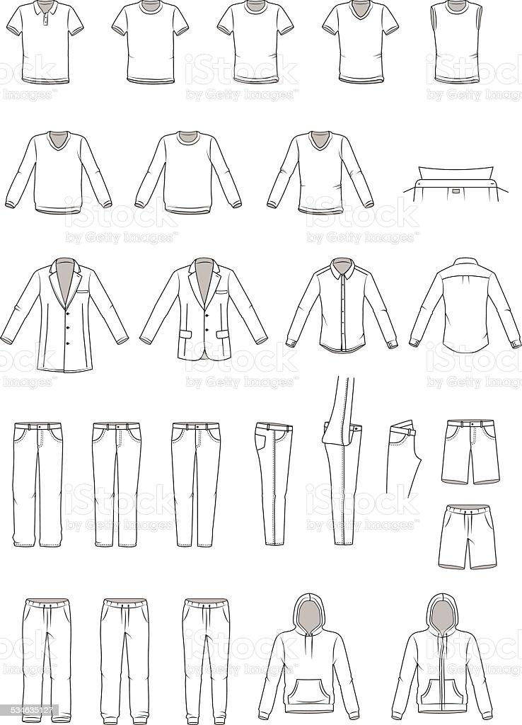 Men's clothing illustration, garment vector art illustration
