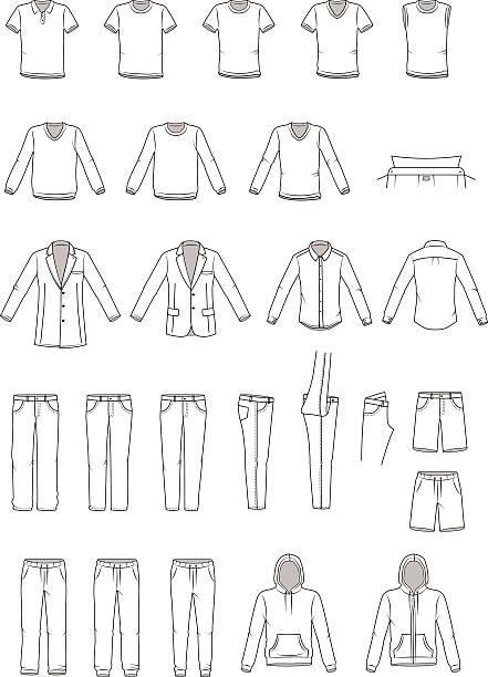 남성용 의류 일러스트, 의복 - 바지 의복 stock illustrations