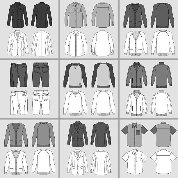 stockillustraties, clipart, cartoons en iconen met men's clothing set - men blazer