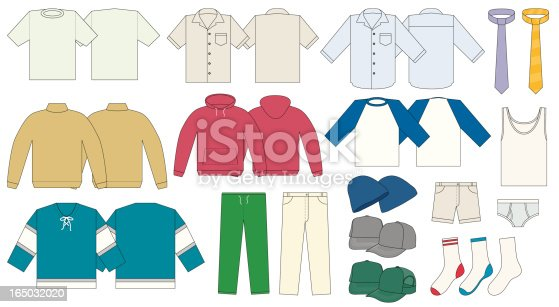 Men's wardrobe including a T-shirt, short & long sleeve dress shirt, mock neck sweater, hooded pullover, baseball raglan 3/4 t-shirt, hockey jersey, khaki and sweat pants, shorts, a couple of ties, touque, baseball cap and trucker hat, briefs and three types of socks.