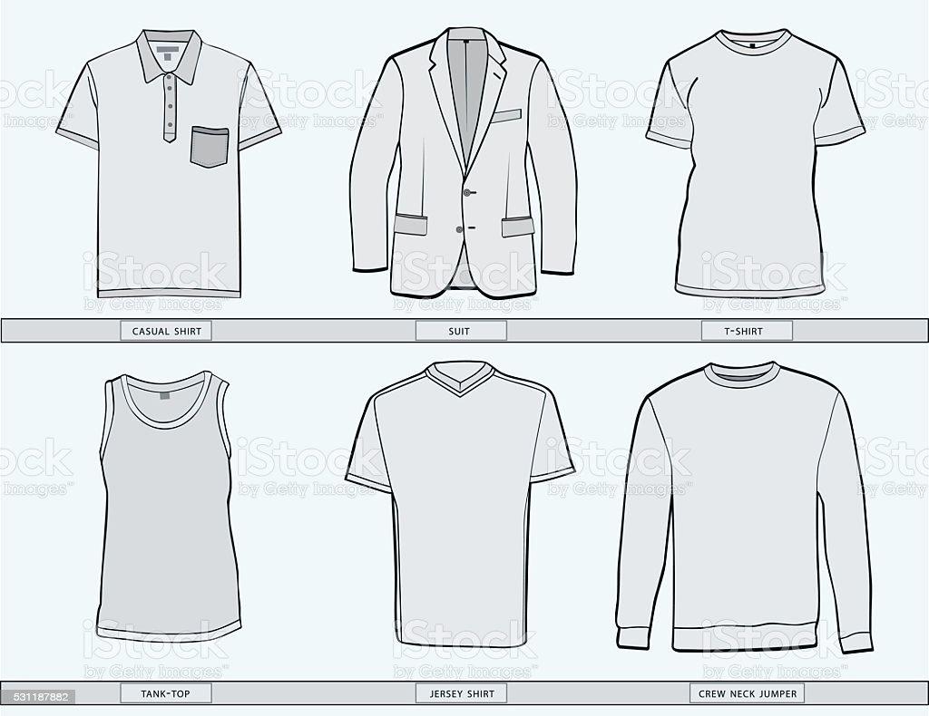Mens clothing templates. vector art illustration