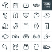 A set men's clothing icons that include editable strokes or outlines using the EPS vector file. The icons include formal and casual wear and include a suit, dress shirt, neck tie, underwear, boxers, belt, vest, button down shirt, shirt, ball cap, coat, jacket, socks, tank top, watch, dress pants, wallet, dress shoes, bow tie, glasses, cuff link, socks, flip-flops, sandals, shorts, t-shirt and running shoe.