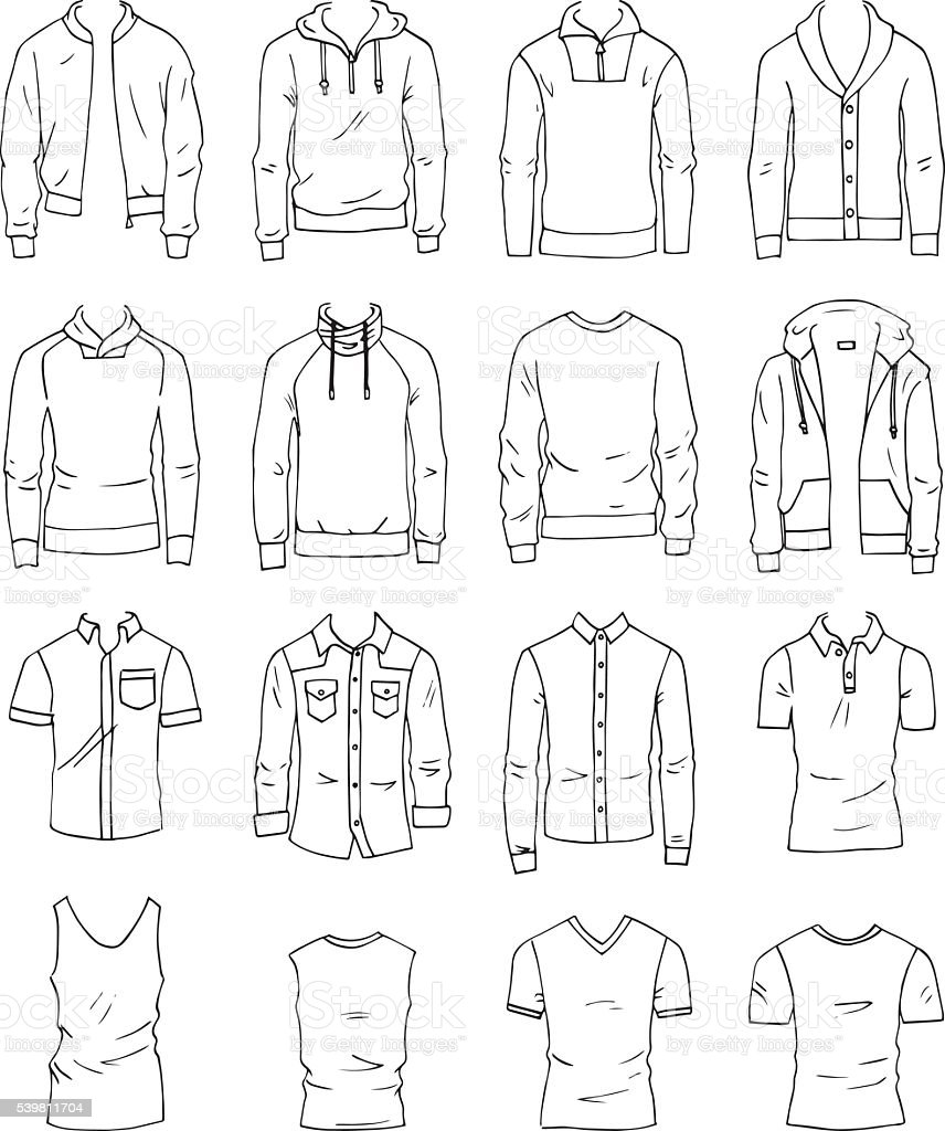 Men's clothing vector art illustration