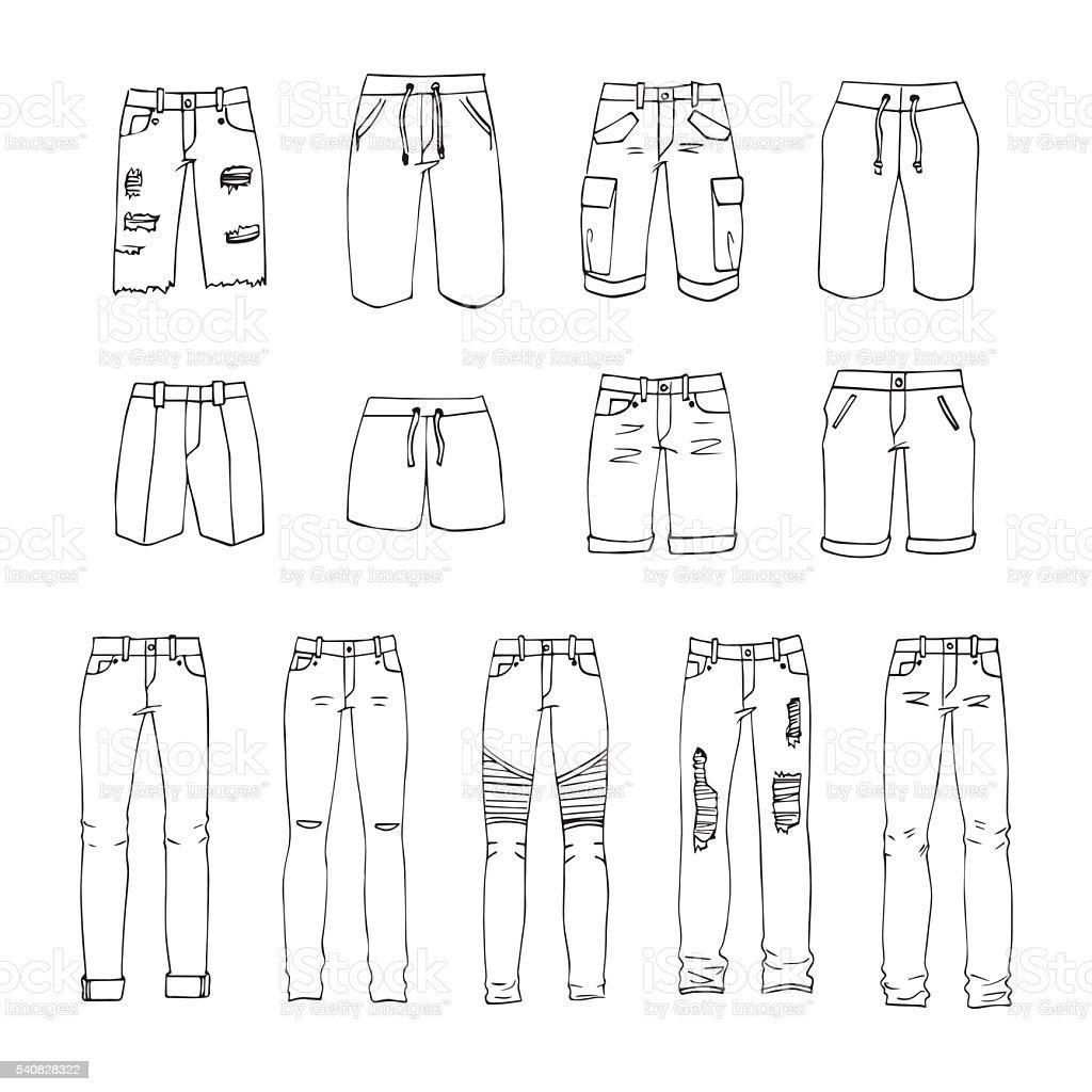 Men's clothing vector art illustration