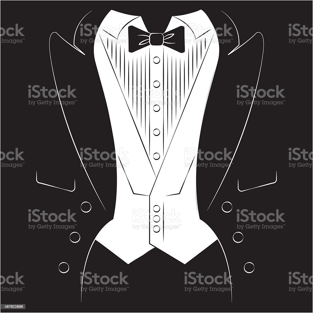 Mens coat with a shirt and tie. Print on clothes. vector art illustration