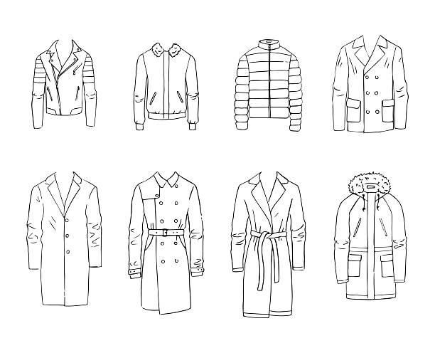men's coats - parkas stock-grafiken, -clipart, -cartoons und -symbole