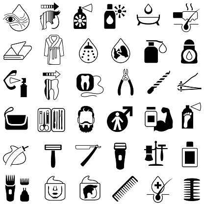 Men's Cosmetics and Grooming Products Icons