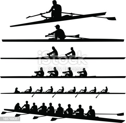 Vector illustration of mens crew rowers and boats.