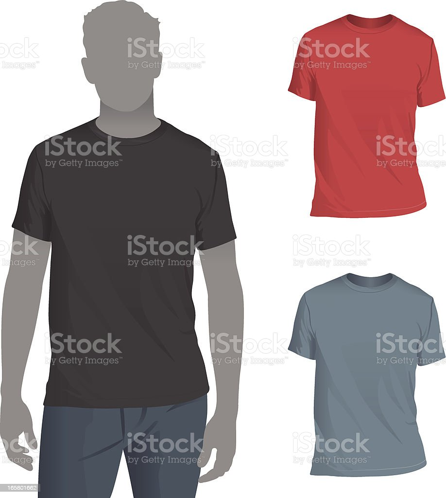 Men's Crewneck T-Shirt Mockup Template vector art illustration