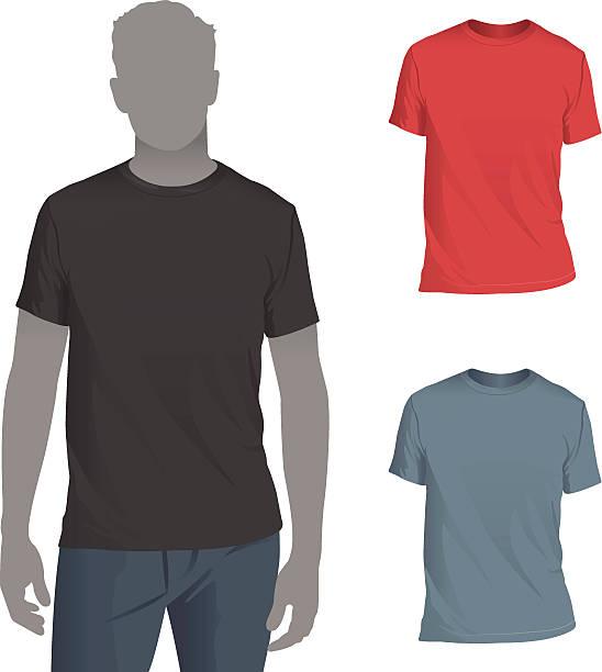 stockillustraties, clipart, cartoons en iconen met men's crewneck t-shirt mockup template - t shirt