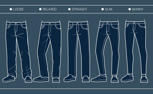 Men's denim fits (loose, relaxed, straight, slim, skinny) Trousers' silhouette for various needs skinny jeans stock illustrations