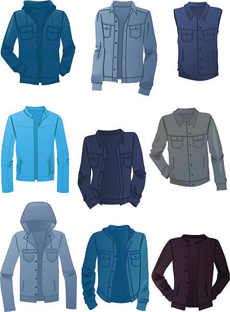 stockillustraties, clipart, cartoons en iconen met men's denim jackets - men blazer