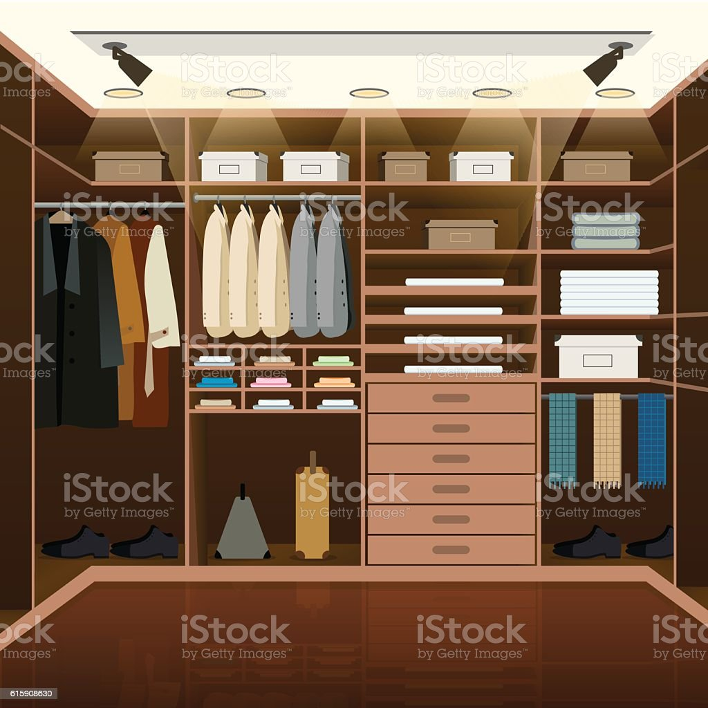 Men's dressing room design vector art illustration