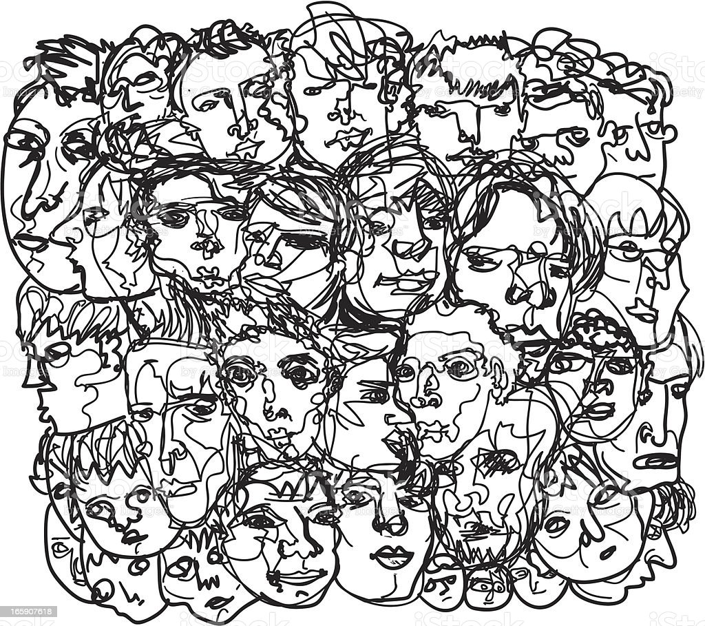 Men's face sketch Square composition sketch of men's heads and faces. download includes a vector file (EPS8) and a high resolution .jpeg. Thanks for rating my work!   Adult stock vector