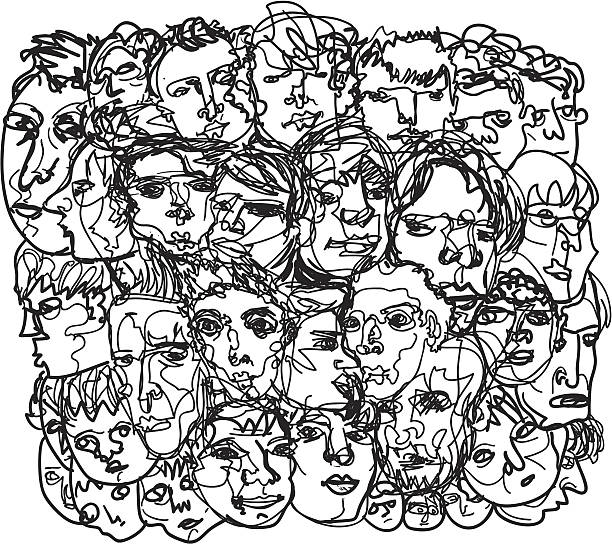 Men's face sketch Square composition sketch of men's heads and faces. download includes a vector file (EPS8) and a high resolution .jpeg. Thanks for rating my work!   portrait stock illustrations