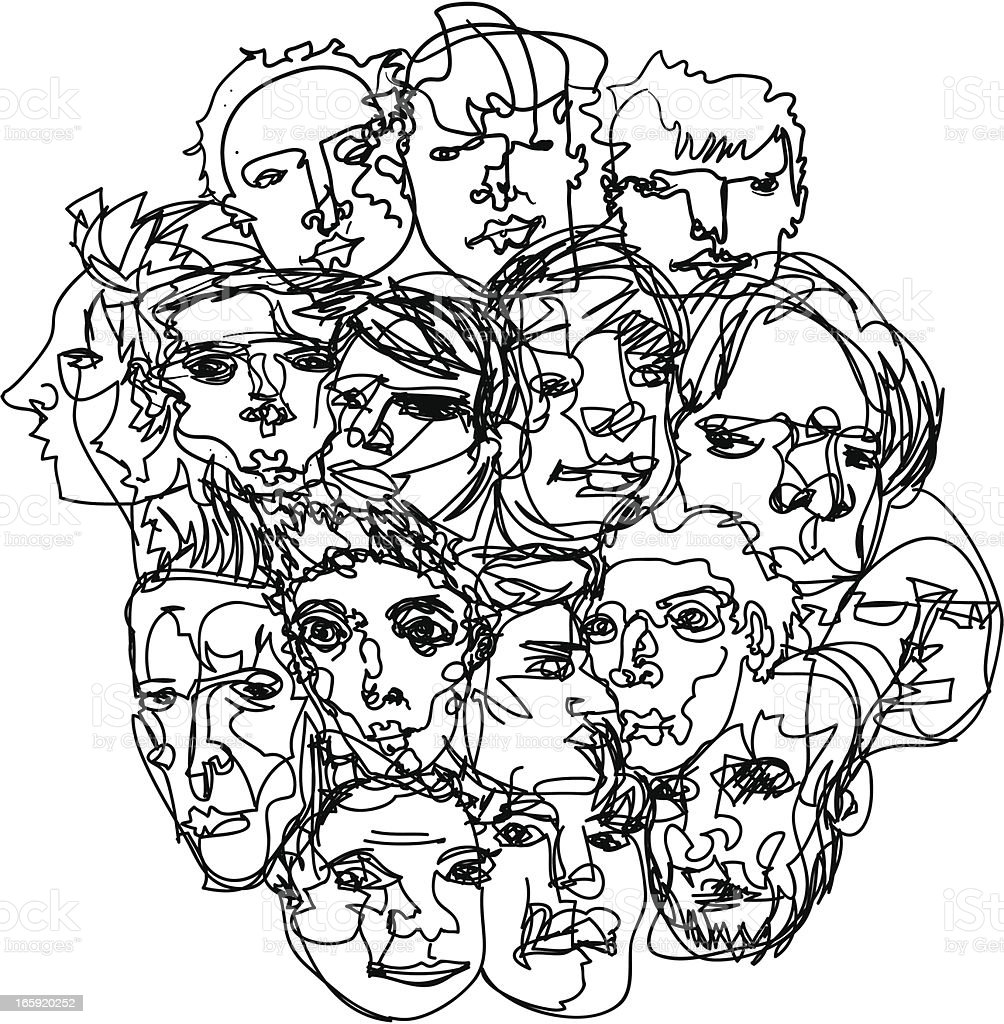 Men's Faces Sketch vector art illustration