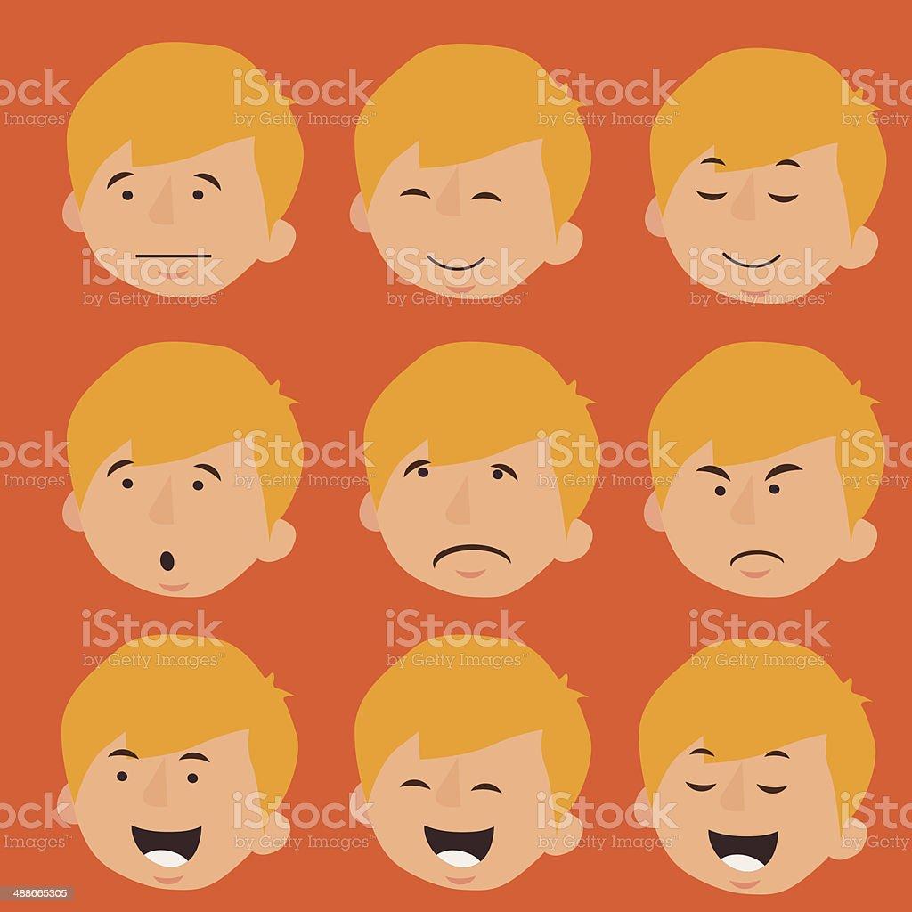 Men's Faces vector art illustration