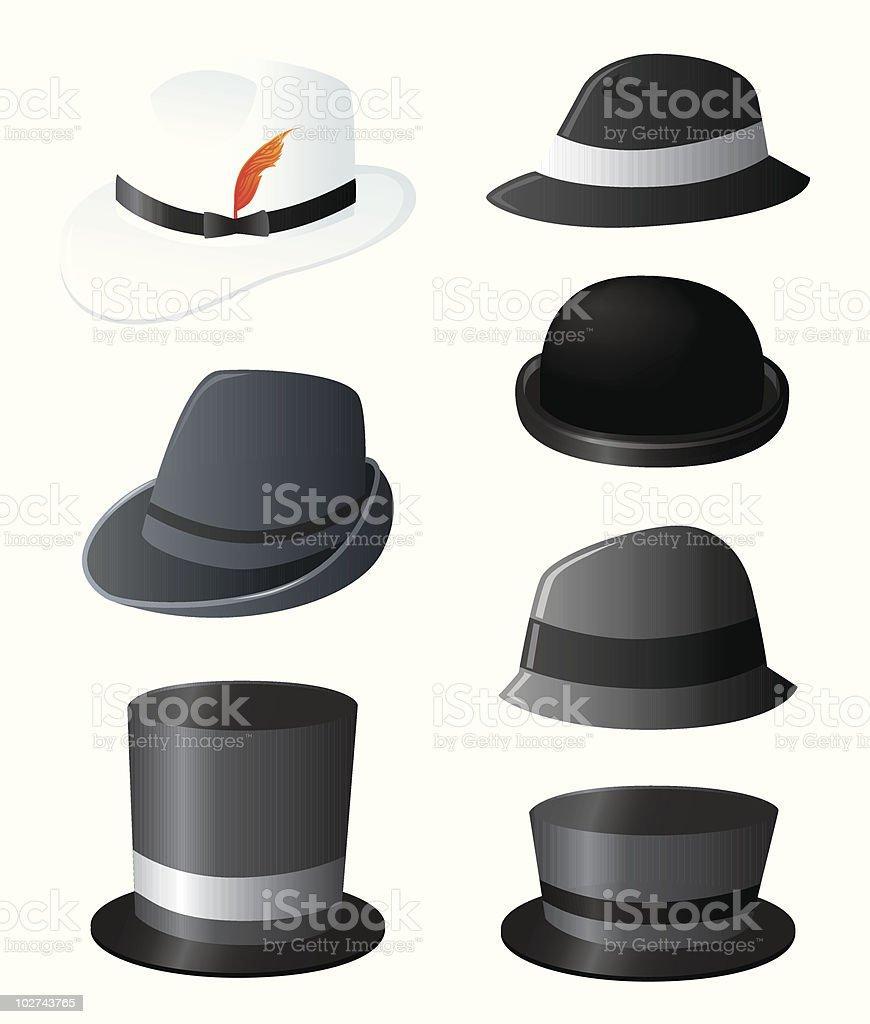 Men's fancy hats set vector art illustration