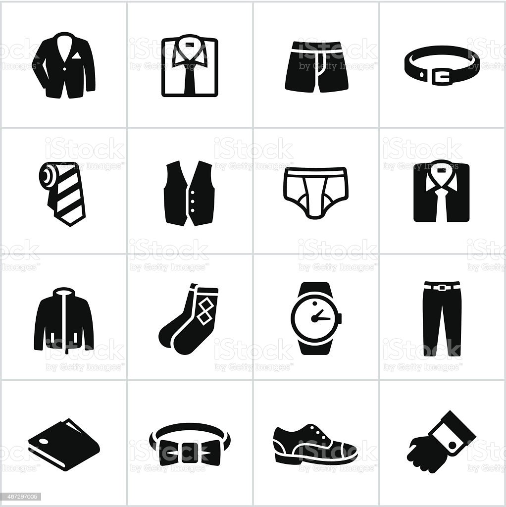 Men's fashion apparel icons vector art illustration