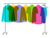Colourful overlapping silhouettes of Mens Fashion Clothes