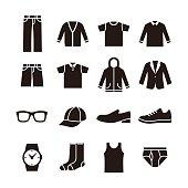 Black and white mens fashion icon illustration