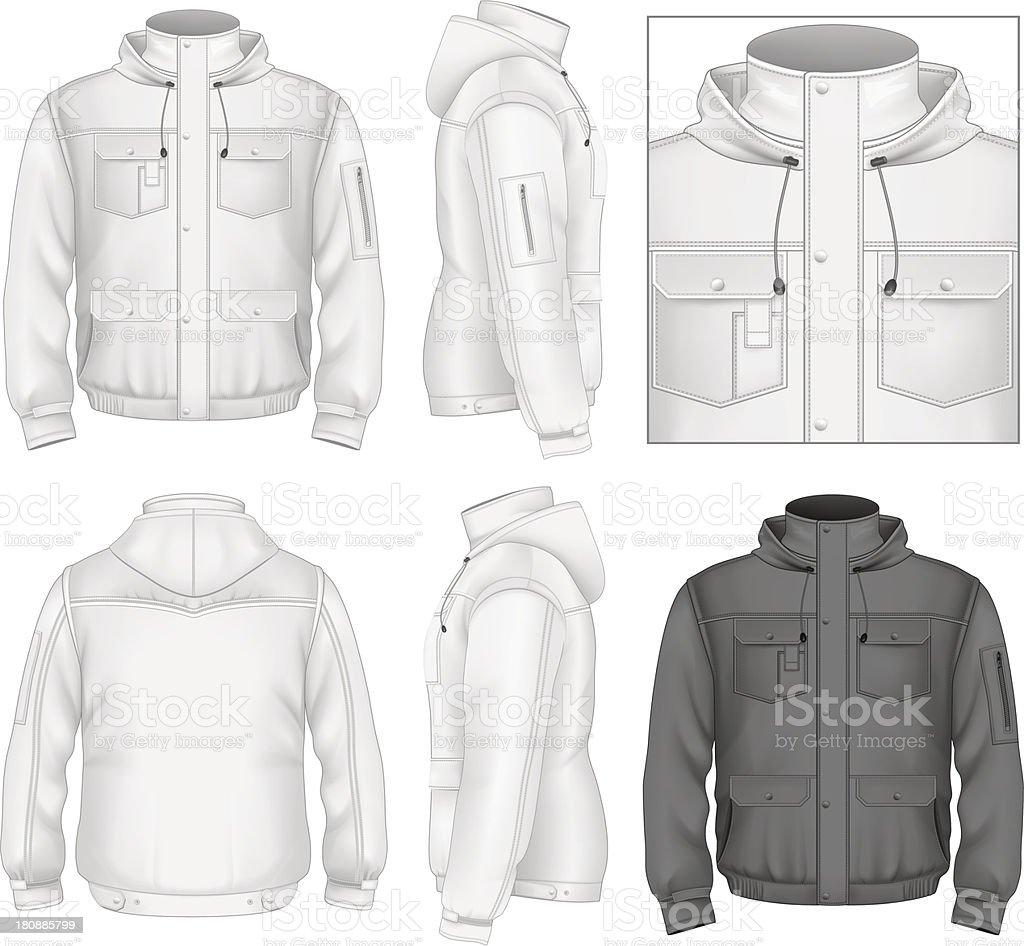 Men's flight jacket with hood vector art illustration