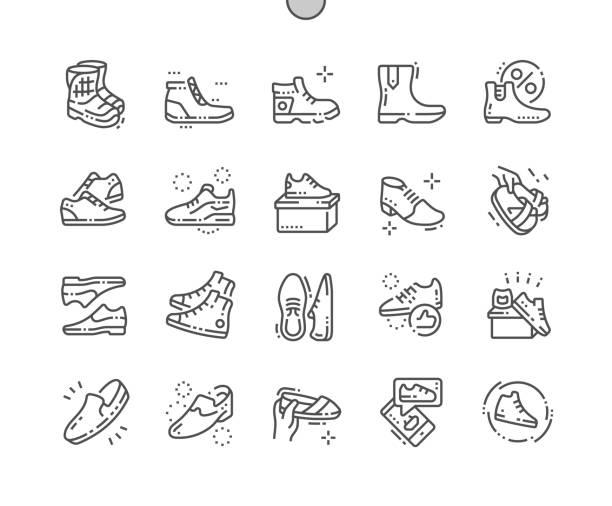 herren schuhe well-crafted pixel perfect vektor dünne linie icons 30 2 x grid für web-grafiken und apps. einfach nur minimale piktogramm - möbelfüße stock-grafiken, -clipart, -cartoons und -symbole