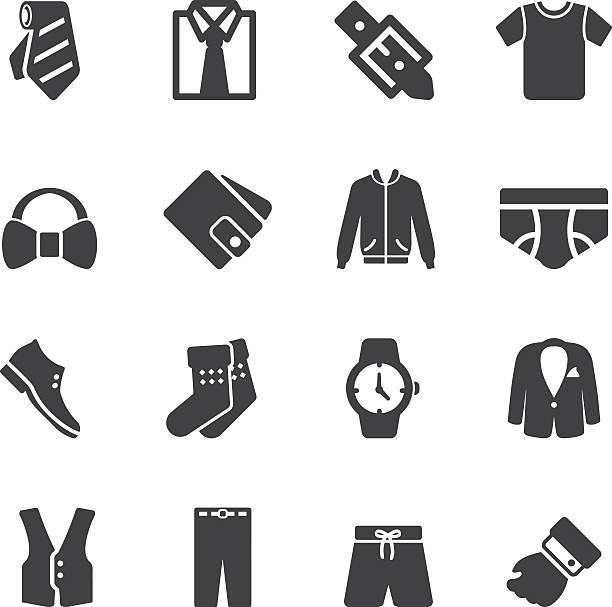 Mens Formal Wear Silhouette Icons | EPS10 vector art illustration
