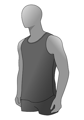 Men's Gray Tank Top Template Vector On White Background.