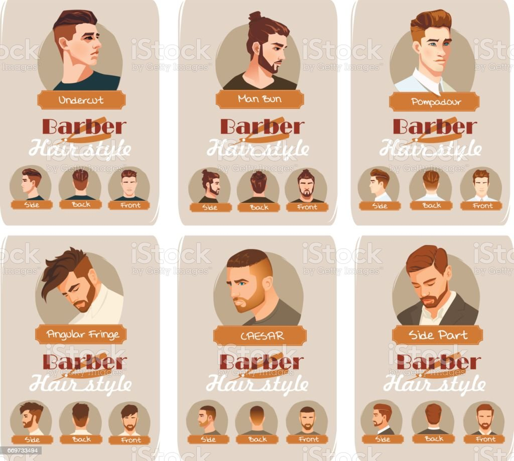 Men's haircut and hairstyle. Side part haircut. Pompadour, Undercut, Man Bun. Barber hairstyle. Front, side and back view vector art illustration