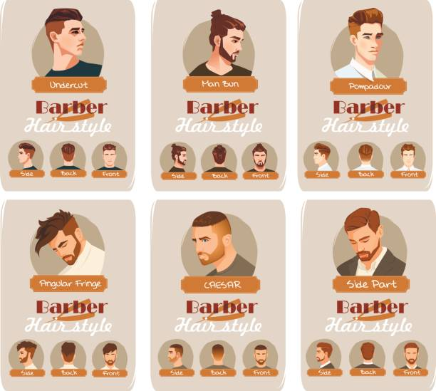 men's haircut and hairstyle. side part haircut. pompadour, undercut, man bun. barber hairstyle. front, side and back view - hairstyle stock illustrations, clip art, cartoons, & icons