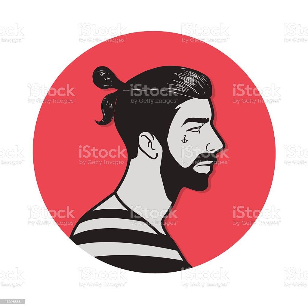 Herren Frisur Haarknoten Stock Vektor Art Und Mehr Bilder