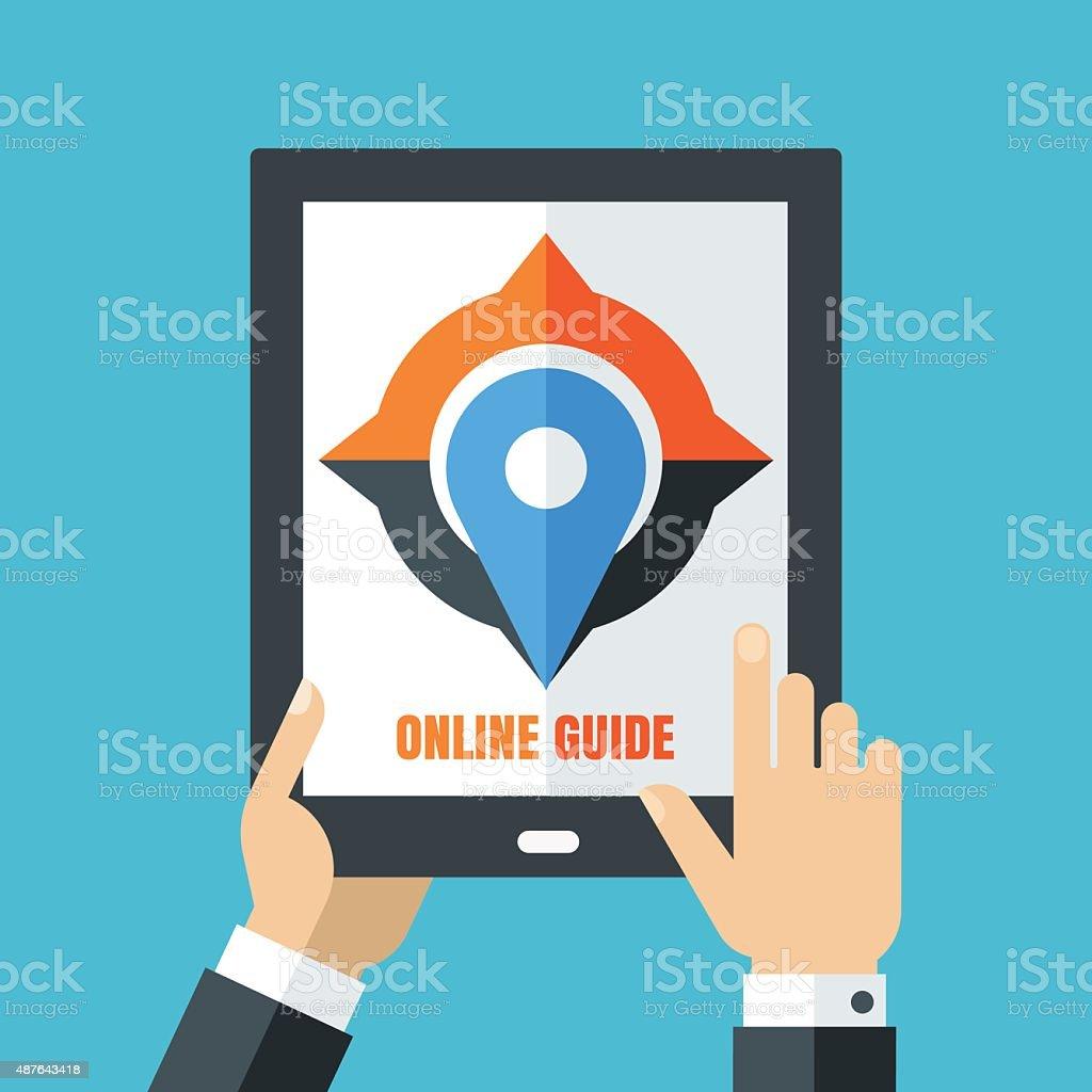Mens hand holding tablet. Flat illustration, compass and waypoint symbol. vector art illustration