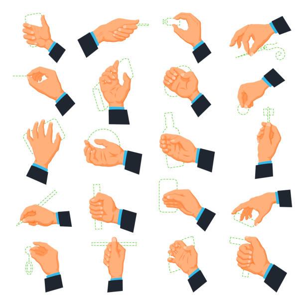 mens hand icons - znak ręką stock illustrations
