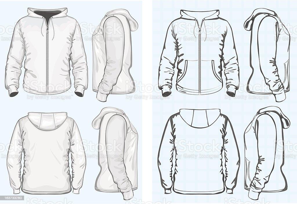 Men's hooded sweatshirt with zipper vector art illustration