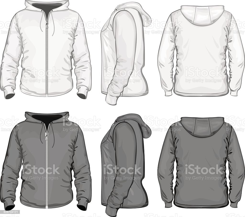 Men's hooded sweat-shirt with zipper vector art illustration