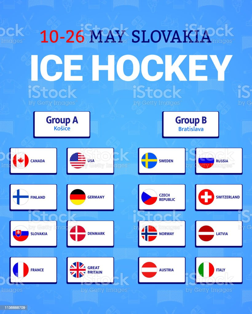 Mens Ice Hockey Table Vector Illustration Participating Countries