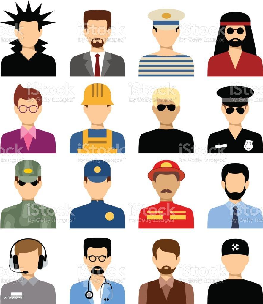 Men's isolated avatars of different professions. vector art illustration