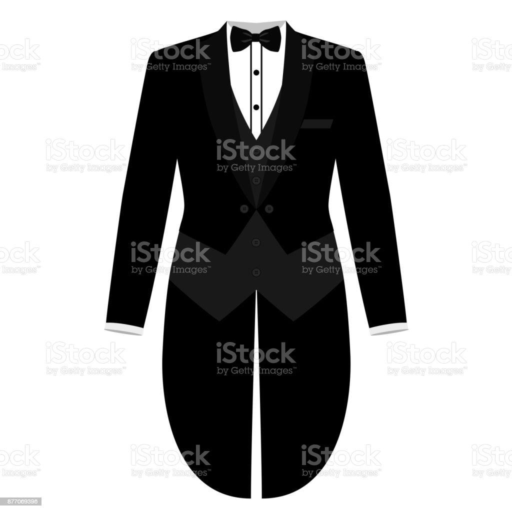 Men's jacket. Tailcoat. Wedding mens suit, tuxedo vector art illustration
