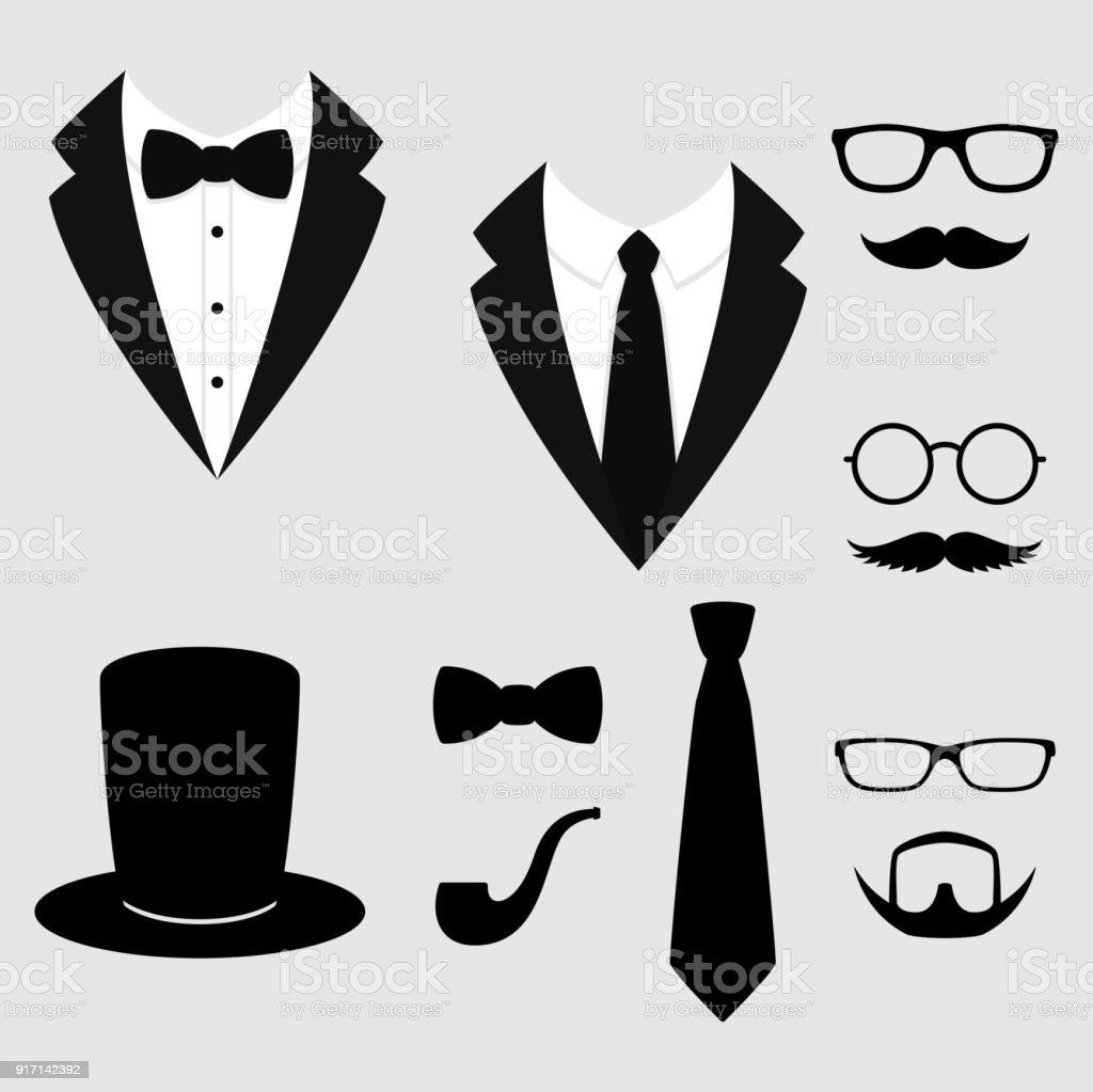 Ilustración de Chaquetas De Los Hombres Smoking Con Bigotes Gafas ... 2dbd1e0e64f