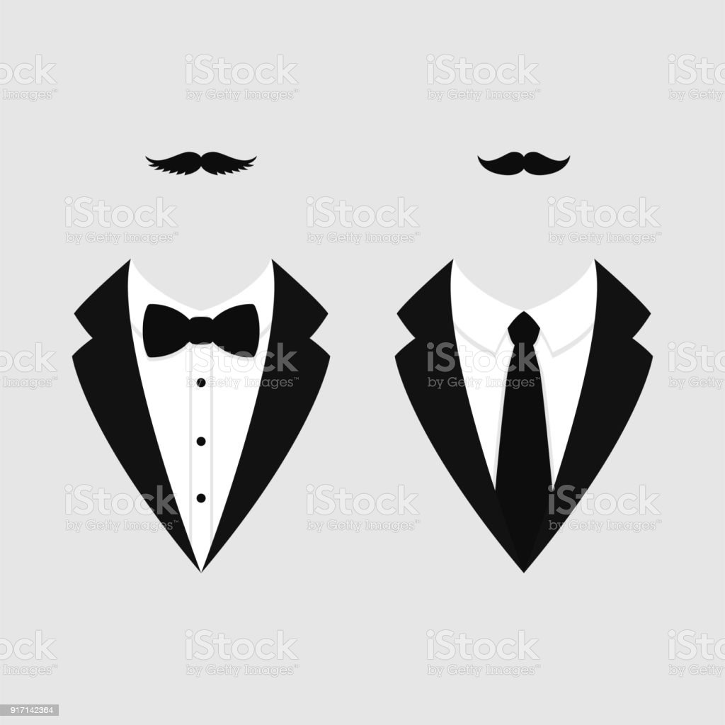 Men's jackets. Tuxedo with mustaches. Weddind suits with bow tie and with necktie. Vector icon. vector art illustration