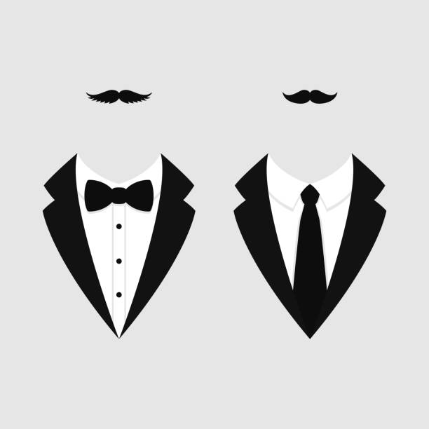 Men's jackets. Tuxedo with mustaches. Weddind suits with bow tie and with necktie. Vector icon. Men's jackets. Tuxedo with mustaches. Weddind suits with bow tie and with necktie. Vector illustration tuxedo stock illustrations